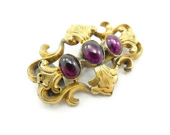 Victorian Style, Garnet Brooch, Gold Filled, Etched