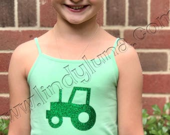Child's tank top or tee-shirt with a green glitter tractor emblem