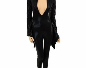 Black Mystique Metallic Liquidy Pixie Sleeve Deep Plunging V Neck Spandex Catsuit (No Hood) - 154879