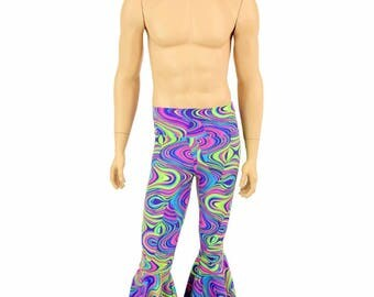 Mens Bell Bottom Flared Leggings UV Glow Worm Spandex Rockstar Rave Festival Psychedelic Meggings - 154984