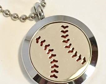 Baseball Diffuser Locket - Softball - Essential Oil Necklace - Sport's Fan
