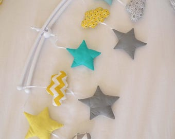 Mobile musical baby 'Lemon MenTalO' - clouds and stars Scandinavian Mint grey yellow graphic