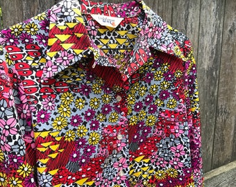 70s Floral Button Up Blouse