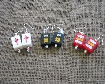 Mini Mahjong Earrings - Oriental Earrings - Mahjongg Jewelry - Mahjong Gift - Mahjong Tiles - Mahjong Earrings - Mahjong Hoiday Gift