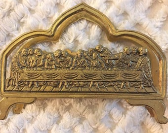 Last Supper Brass Letter Card Napkin Holder Jesus
