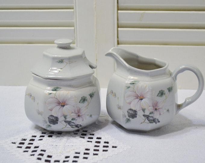 Vintage Mikasa Woodsong Sugar Bowl and Creamer Set DR726 Color Trends Line Floral Replacement Panchosporch