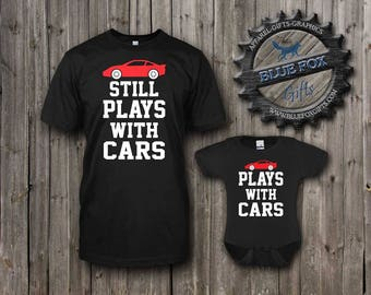 Father and Son Shirts,Plays with Cars Shirt Set,gift for dad,cute baby clothes,Parent and child shirts,new dad gift,baby shower gift,BAM_003