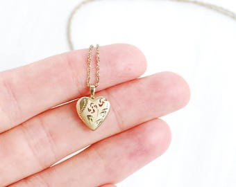 Little Love Heart Shaped Locket Pendant with Room for Two Photos, Gold Filled Floral Etched, Vintage Estate Jewelry, Simple and Small