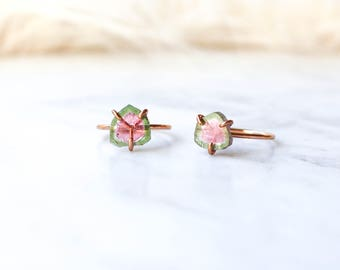 Watermelon Tourmaline Slice Ring in Rose Gold