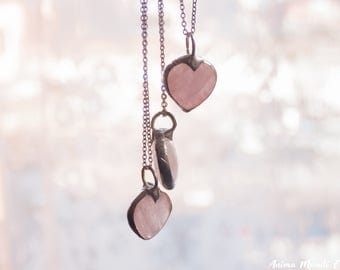 Rose quartz pendant, Pink Quartz heart necklace, Valentines gift for girlfriend wife, Love stone pendant delicate necklace gift for daughter