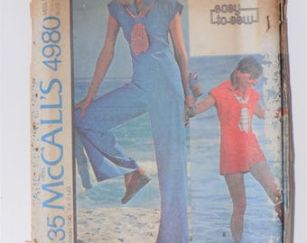 Vintage 1976 McCalls Pattern 4980 size 8, 10, 12