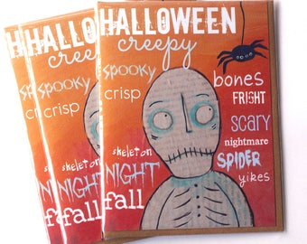Skeleton Halloween Set of FOUR Blank Note Card with original art by Cortney Rector Designs