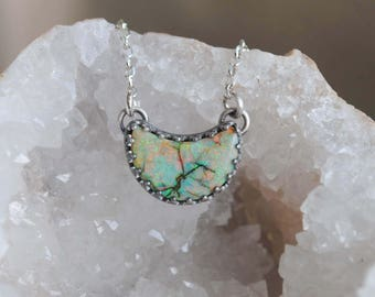 Exodus Opal Crescent Moon Necklace, Crescent Moon Jewelry