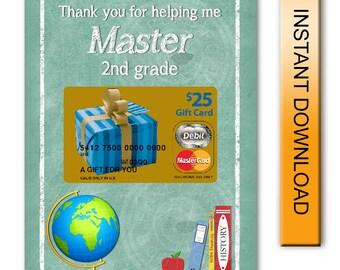 Teacher Appreciation Printable Chalkboard MasterCard Gift Card Holder - Digital Instant Download