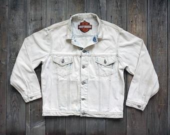 90s Harley Davidson Acid Washed Jean Jacket - Light Wash Bleached White Denim - Motorcycle Eagle - Mens Size Large - Womens XXL