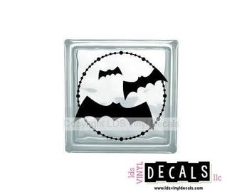Bats (in full moon) - Halloween Vinyl Lettering for Glass Blocks - Craft Decals