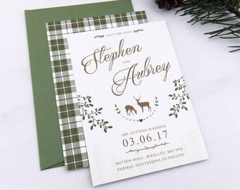 Rustic woodland wedding save the date, Outdoor wedding invite, Forest wedding save the date, Rustic wedding invitation, Woodland wedding