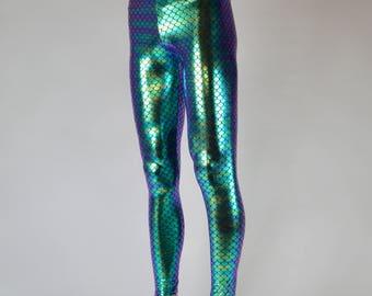 Green Holographic Fish Scale, Merman Leggings // Great Burning Man Costume // Men's Mermaid Meggings