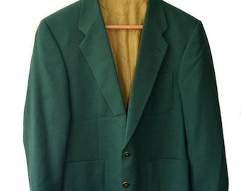 Vintage Commander men blazer green 100% pure new wool Weingarten Koln metal branded buttons