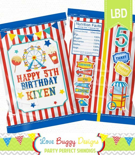 carnival birthday chip bag printable birthday chip bag party. Black Bedroom Furniture Sets. Home Design Ideas