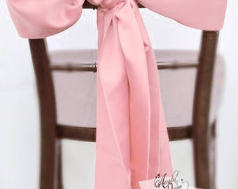 Thick Wide Blush Pink High quality Prr-ironed Satin Chair Sash for Chair Decoration in Bridal Shower Wedding Ceremony Event Reception