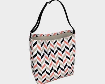 Tote bag, stripped, Woman bag, Gift for woman, Gift, black, salmon,  Fashion bag, Day tote, Purse, Gift for her