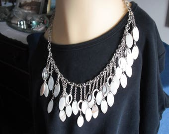 Vintage Mother of Pearl and Chain Dangling Bib Necklace