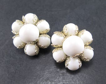 Vintage White & Silver Tn Beaded Cluster Earrings Made in Japan Clip On 1960s