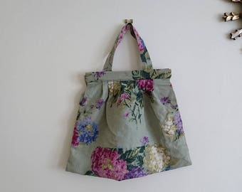 Handmade Shabby Chic Country Flowers Knitting, Craft, Sewing Bag