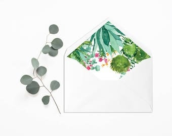 Palm Springs Envelope Liner - Wedding Liner Envelope - Palm Springs Wedding - Wedding Envelope - Floral Liner - Cactus Envelope liner