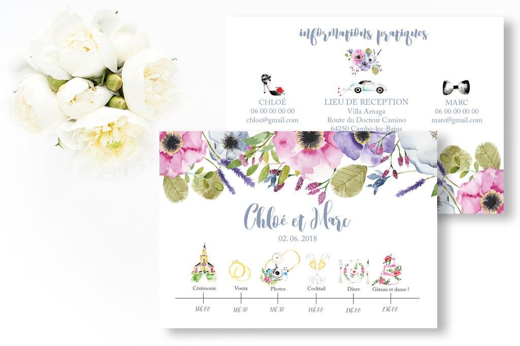 Top Programme de mariage fleurs à imprimer Programme mariage TI33