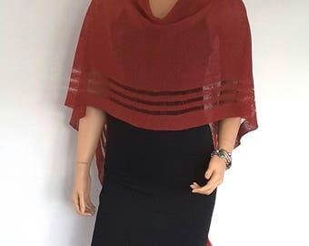 Linen Poncho Dark Red colour  Women's Shawl Wrap Poncho Shrug, Wedding Accessories, Women's  Accessories, Occasion  Knitwear