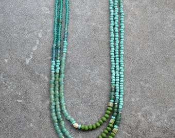 SALE Bohemian Seed Beads Necklace, Boho Jewelry, Everyday Necklace, Ethnic Jewelry, Summer Necklace, Turquoise Green Bohemian Necklace