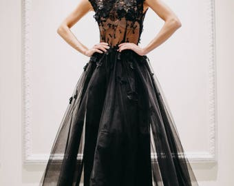 Black 3D flower till christmas party dress