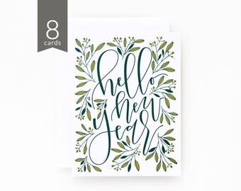 New Years Card Set of 8 | Hand Illustrated Botanical New Years Cards with Hand Lettered Calligraphy : Hello New Year Card