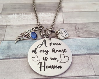 A Piece of my Heart is in Heaven Engraved Pet Loss Necklace with Pets Name on Back - Comes with a Wing-Heart & Crystal