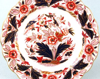Striking Antique Plate, Booth's Antique, Dovedale Pattern, A8044, Imari Palette, Blue and Red, Stylized Foliage, Gilded Antique, Unique