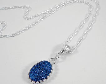 Blue Druzy Necklace. Druzy Necklace. Blue Druzy Pendant. Druzy in Gallery Wire Setting.  Gift for Her. Drusy.