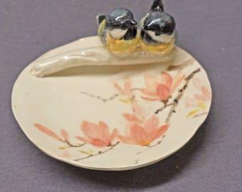 Handmade Hand Painted Ceramic Trinket Dish with Love Birds - Ring Holder, Jewelry Holder, Wedding , Anniversary,  Romantic, Valentine's day
