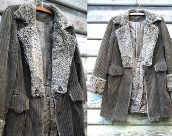 Vintage 90s Olive Green Corduroy Jacket Boho Faux Fur Collar Wool Shaggy Coat Hippie Vtg 1990s Size S-M Penny Lane Faux Shearling