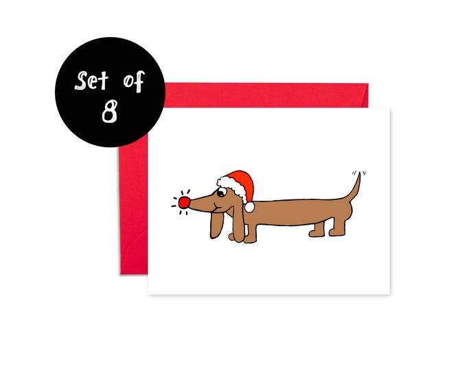 Dachshund Christmas Card Set of 8 Card