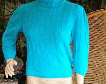 80's Aqua Blue Turtle Neck Sweater, Lambswool & Angora Sweater, Vintage Angora Sweater, Aqua Blue Sweater, 80's Soft Angora Sweater, MD