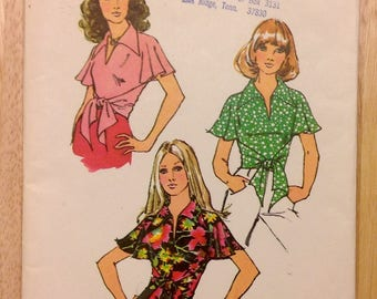 1972 women's wrap blouse, Simplicity 5112, miss size 8, 10, wraparound top, flutter sleeve, tie front, unused vintage sewing pattern supply