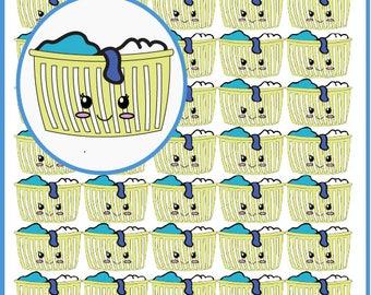 Kawaii Laundry Basket Sticker, Laundry Reminder Sticker, Dirty Clothes Sticker, Erin Condren Laundry Sticker, Washing Machine Stickers