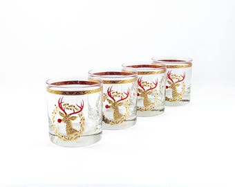 Vintage Culver Rudolph Glasses, 22K Gold and Red Mid-Century Lo Ball Barware, Christmas Tumblers
