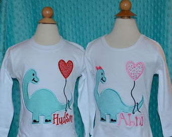 Personalized Valentine's Dinosaur Heart Applique Shirt or Onesie Girl or Boy