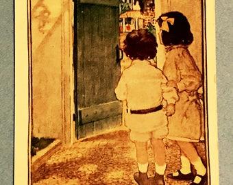 Antique 1900s Portrait Postcard, The Green Door, Two Little Children Looking Inside Open Door, Vintage Post Card Collectible.