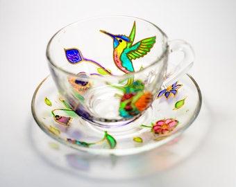 Hummingbird Tea Cup and Saucer, Gift for tea drinker Coffee cup Hummingbird Mug Teapot Set for Women