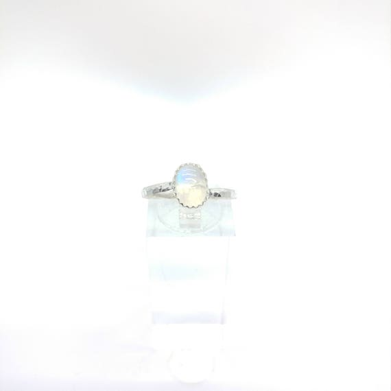 Simple Moonstone Ring | Rainbow Moonstone Ring | Sterling Silver Ring Sz 8.25 | Simple White Ring | June Birthstone Ring | Blue Moonstone