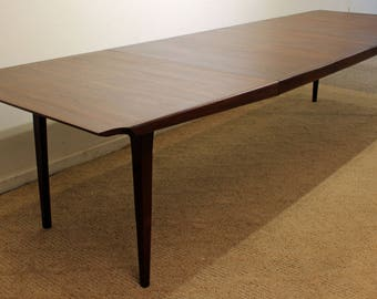 "Mid-Century Modern Dining Table John Stuart Danish Modern Walnut 127"" Extendable Conference/ Dining Table"